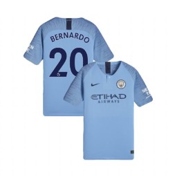 KIDs 2018/19 Manchester City Soccer Home #20 Bernardo Silva Light Blue Authentic Jersey