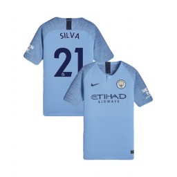 KIDs 2018/19 Manchester City Soccer Home #21 David Silva Light Blue Authentic Jersey