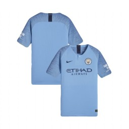 KIDs 2018/19 Manchester City Soccer Home Light Blue Authentic Jersey