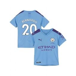 KIDs Manchester City Soccer 2019/20 Home #20 Bernardo Silva Light Blue Authentic Jersey