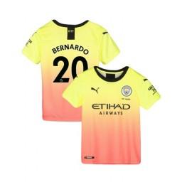 KIDs Manchester City Soccer 2019/20 Third #20 Bernardo Silva Yellow Pink Authentic Jersey