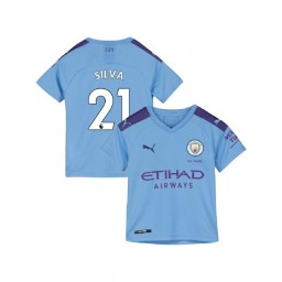 KIDs Manchester City Soccer 2019/20 Home #21 David Silva Light Blue Authentic Jersey