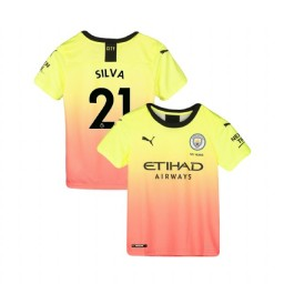 KIDs Manchester City Soccer 2019/20 Third #21 David Silva Yellow Pink Authentic Jersey