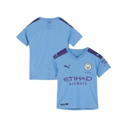 KIDs 2019/20 Manchester City Soccer Home Light Blue Authentic Jersey
