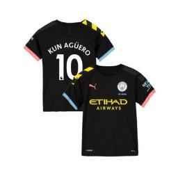 KIDs Manchester City Soccer 2019/20 Away #10 Sergio Aguero Black Authentic Jersey