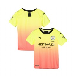 KIDs 2019/20 Manchester City Soccer Third Yellow Pink Authentic Jersey