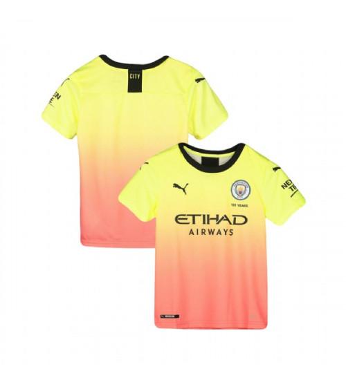 KIDs 2019/20 Manchester City Soccer Third Yellow Pink Replica Jersey
